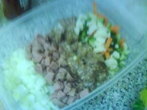 Bawang, sosej, daging dan veggies