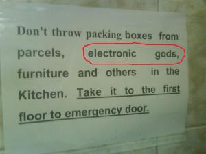 "Sejak bila ada ""electronic gods"" dekat2 sini? 0_o"""